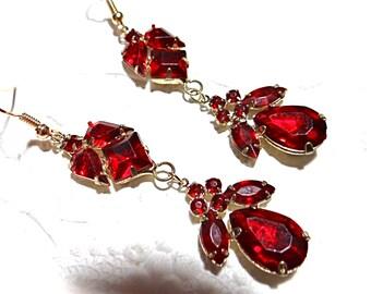 Red Rhinestone Earrings Vintage Jewelry Accessories VA-180
