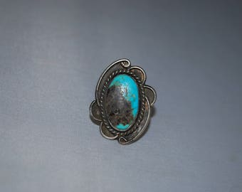 Sterling silver ring size 6 with turquoise setting.