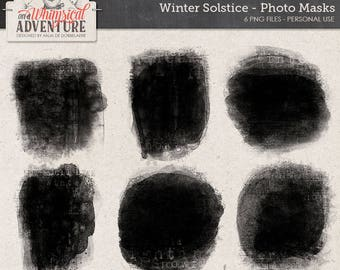 Photo Template, Winter Solstice, Digital Photo Mask, Handmade Clipping Masks, Frosty Texture, Instant Download, Digital Scrapbook Supplies