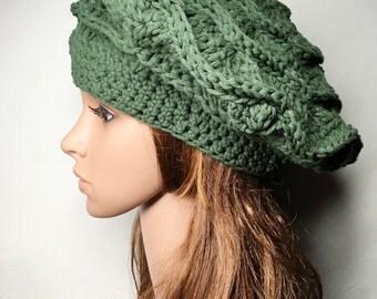 Green Crocheted Beret - Green MANON Beret - Hand Made Crocheted Beret -  Green Hat - Woman Hat - Ready To Ship