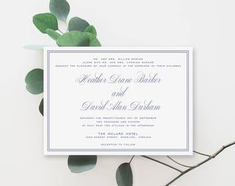 Printable Wedding Invitation, Invitation Suite, Classic, Navy, Wedding Invite, Wedding Invitation, Template, PDF, The Heather Collection