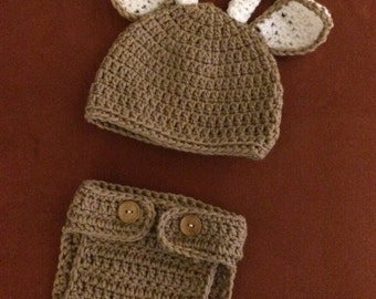 Newborn Baby deer hat and diaper cover
