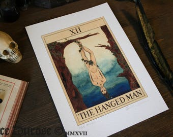 The Hanged Man Tarot Card A4 Fine Art Print. Nature, Trust, Balance, Submission, Magic, Occult, Oracle, Fortune.