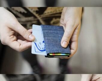 Vegan Wallet,RFID Wallet, Minimalist Wallet,Denim Wallet , Front Pocket Slim Design, Mens Wallets