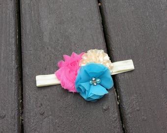 Shabby Bow - Shabby Chic Bow - Shabby Elastic Headband - Shabby Headband - Pink Cream Blue Bow - Cute Headband - Baby Headband