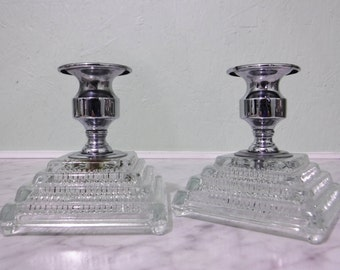 Glass Candle Holders/Glass Candleholders/Clear/Chrome/Art Deco Style/Glass And Metal/ Silver Taper Candle Holder/Low/Pair/Set/Vintage