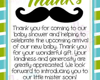 """Little Mister 4""""x6"""" Printable Baby Shower Thank You Card Green Blue Stripes {Digital File Only Delivered within 24 HRS See Listing Details}"""