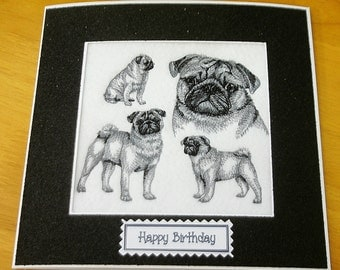 Handmade Embroidered Birthday Card Cute Pug Sketch