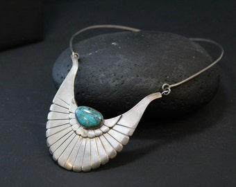 Unique Sterling Silver Native American Tribal Turquoise Bib Necklace