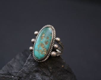 Sterling Silver Old Pawn Oval Turquoise Ring, Native American Turquoise Ring, Sterling Navajo Turquoise Ring, Old Pawn Navajo Ring (AS IS)