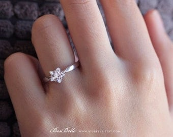 Solitaire Star Ring-Fancy Star Cut Diamond Simulant-Bridal Ring-Promise Ring-Engagement Ring-Anniversary Ring-Solid Sterling Silver [0513]