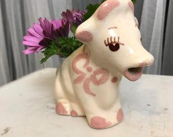 Vintage Repurposed Ceramic Cow Creamer, Hand Painted