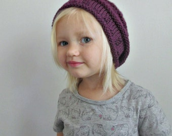 Wool Slouchy Hat, Purple, Hand Knit, Toddler, Child, and Adult Sizes ∙ Slouch Beanie ∙ Kids Hats ∙ Womens' Knit Hats ∙ Fall Accessories