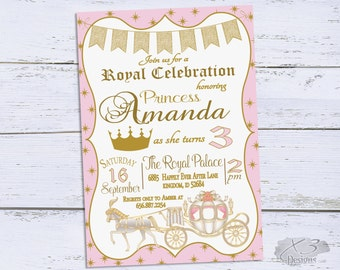 Princess Birthday Invitation, Royal Princess Birthday Party Invitation, Printable Pink and Gold Birthday Invites, Princess Theme Birthday