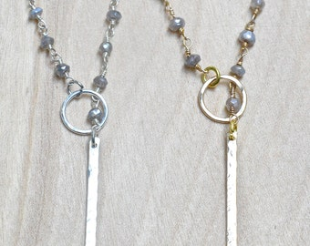 Labradorite Gray Lariat Necklace, 14k Gold or Sterling Silver Lariat, Circle & Bar Necklace, Simple Necklace