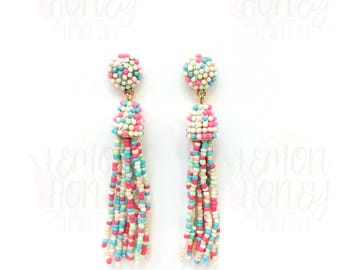 Long Beaded Tassel Earrings Pink Multicolor, Gold Tassel Dangle Statement Earrings Long Tassel Earrings Long Dangle Earrings Gift for Her