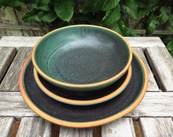 Custom Noe Dinnerware Set in Metallic Green //  Made to Order Wedding Registry Handmade Pottery Stoneware Dining Set Gift Emerald Green