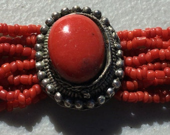 Coral Beaded and silver Bracelet