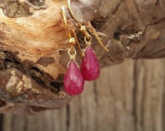 Ruby Earrings, Natural Deep Red Ruby Earrings, 14 K Gold Filled Jewelry, Gemstone Earrings, Dainty Earrings, July Birthstone Jewelry