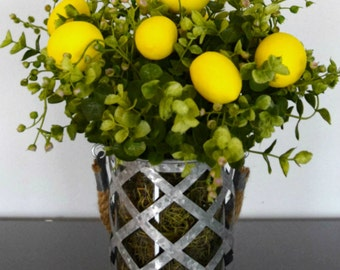 Lemons and Greenery Arrangement | Lemon Decor | Lemon Centerpiece | Farmhouse Decor | Rustic Country Decor