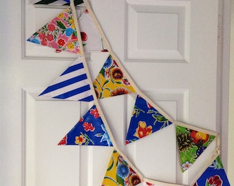 Mexican Oilcloth Bunting, water resistant bunting, Colourful Party flags, Festive bunting, Celebration bunting on cream tape.