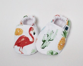 6-9 months - Baby slippers, Crib shoes, Flamingo, Cactus, Pineapple, Tropical leaves, Red, Blue, Yellow, Green, Cotton, Soft sole, Moccasins