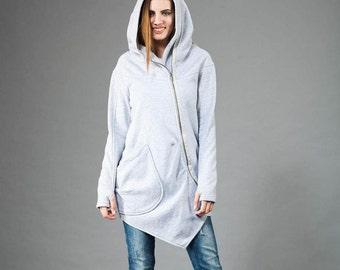 Women's Hoodie, Warm Hoodie, Cotton Coat, Asymmetrical Front Zipper, Hooded Coat, Handmade by Navaho, Dark Gray Hoodie,Clothes Navaho