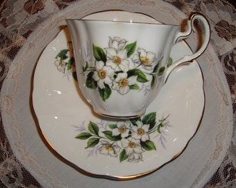 Royal Adderley - Fine Bone China England - Vintage Tea Cup and Saucer - White Flowers, Green Leaves with Gold Trim