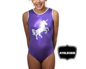 Unicorn gymnastics leotard, solid purple, for girls, for kids, training wear, natation, dance, athlechik, ready to wear,  5Y, 6Y, 7Y, 12Y