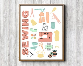 Sewing Room Wall Sign - My Happy Place Sewing Quote Printable Art - Sewing Accessories Poster - Gift For Sewers /Seamstress - Needlework Art