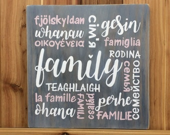 """FAMILY in different languages or set of 3, """"Love, Family, Home"""" - Hand painted pine - Housewarming, Engagement, Wedding - Country Rustic"""