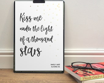 Personalised Ed Sheeran Song Words Christmas Gift   First dance Our song A4 or A5 Print   Contemporary watercolour hearts stars design