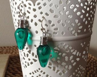 Green festive Christmas Tree lightbulb dangle earrings. Pefect for the holidays!