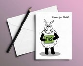 Motivational card, Ewe got this!, You got this, Inspirational card, exams card, Good luck card, Celebration card, Punny card, Sheep card,