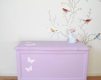 toy box restored, pink mauve, pink butterfly decoration