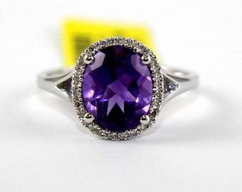 Fine Oval Purple Amethyst & Diamond Solitaire Fashion Ring 14k White Gold 2.32Ct