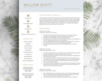 Modern Resume Template For Word And Pages, Modern CV Design, Resume Modern,  Instant