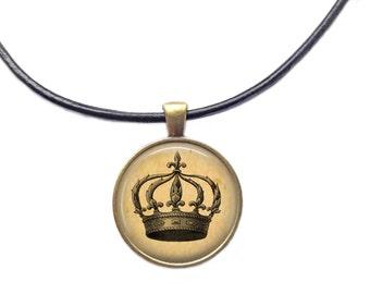 Crown pendant Vintage jewelry Royal necklace