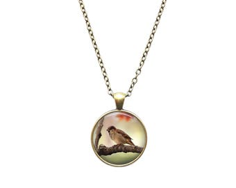 Bird pendant Sparrow necklace Animal jewelry