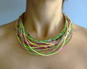 Raffia Necklace, Natural Necklace, Raffia Yarn, Green Necklace, Multicolor Necklace, Boho Chic Necklace, Bohemian Style, African Necklace