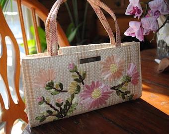 Straw purse with flowers - vintage xoxo brand