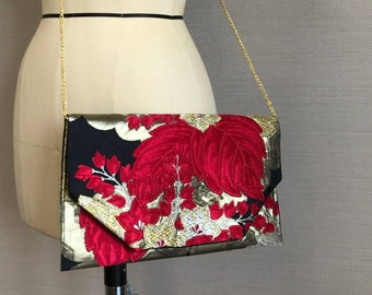 Japanese Kimono Obi Clutch Purse with wooden box