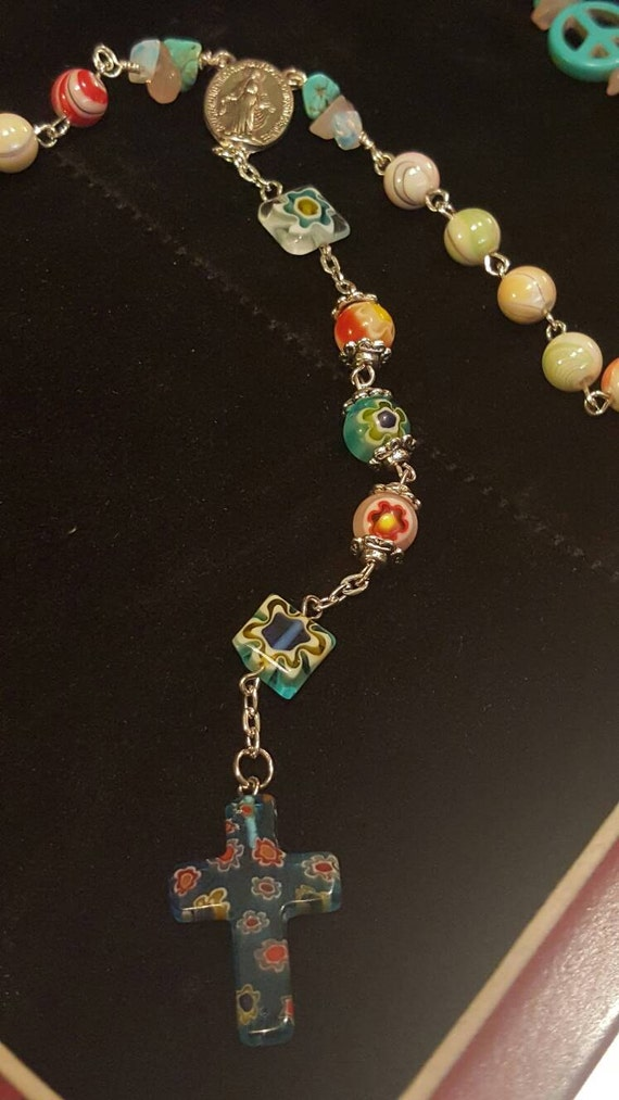 HEY MARY peace beads by T.R.Jackson  christ mala Rose quartze turquoise  flower power peace sign gem rosary hippie boho love Jesus necklace!