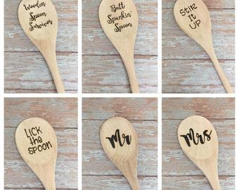 Wooden Spoon, Funny Kitchen Spoon, Wood Burned Spoon