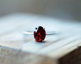 Garnet Ring Silver Sterling Silver Garnet Ring Natural Garnet Stone Oval Garnet Ring Promise Ring Anniversary Ring Wedding Ring Engagement