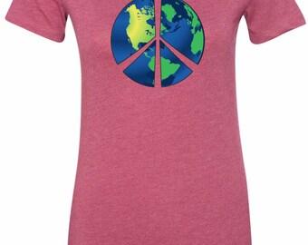 Ladies Peace Shirt Blue Earth Longer Length Tee T-Shirt BLUEEARTH-6004