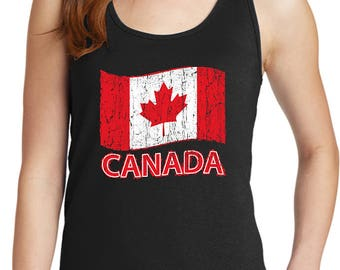Ladies Distressed Canada Flag Tank Top CANADA-LPC54TT