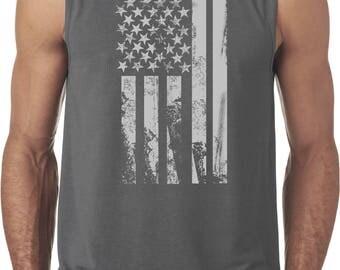 Men's Distressed Stars and Stripes Flag Sleeveless Tee T-Shirt DISFLAG-42700