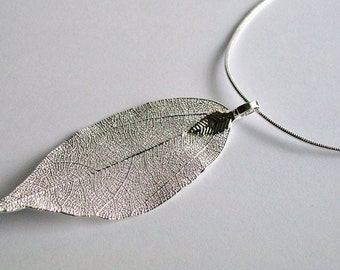 Silver Leaf Necklace ~ Nature Jewellery ~ Real Leaf ~ Leaf Necklace ~ Leaf Charm ~ Woodland Jewelry