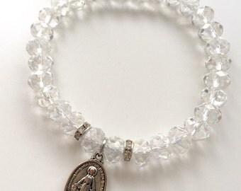 Virgin Mary bracelet,Glass Bead Bracelet,silver Mother Mary Charm,Spiritual jewelry,Catholic bracelet,diamonte bracelet,gift for her